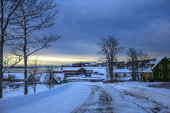 Calm after the storm (Danny VB) Tags: ocean road morning blue houses winter sky cloud sun snow canada storm cold tree rural marina sunrise canon photography eos early town frozen photo quebec hiver january newyear calm atlantic route freeze neige rise townscape baretrees ef50mmf18ii gaspesie 6d winterscene 2016 perc ansebeaufils canoneos6d