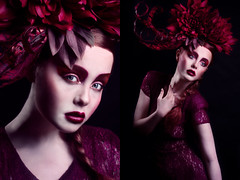 'Wild Flower.' (Laura Jane Harding) Tags: red black colour beauty fashion studio movement purple skin maroon feathers makeup dramatic pale redhead drama plait headpiece