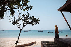 Travelling with the Fujifilm X100T - The Woman and the Sea at Klong Muang (polybazze) Tags: sea summer vacation woman sun hot beach thailand boats fishing sand asia fuji shadows review salt palm krabi aonang klongmuang x100t fujifilmx100t