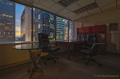 A Manhattan office. (abochevarov) Tags: nyc newyorkcity sunset newyork beautiful composition zeiss reflections office interiors view chairs manhattan interior wide wideangle indoors timessquare emptyoffice interiorphotography zeiss15mm nikond810