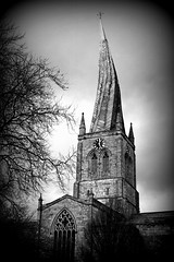 The Spire, chesterfield (Elizabeth Story) Tags: old white black building tree clock church monochrome architecture outdoor derbyshire spire twisted hdr chesterfield