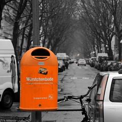 like no place on earth (micagoto) Tags: berlin bsr garbagecan mlleimer orrange wrstchenbude