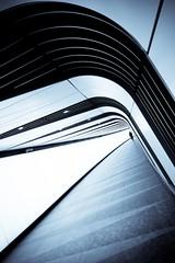 Kind of Blue (The Green Album) Tags: light man london geometric lines station architecture modern walking pattern cross contemporary curves kings figure panels sawtooth toning selenium futursitic