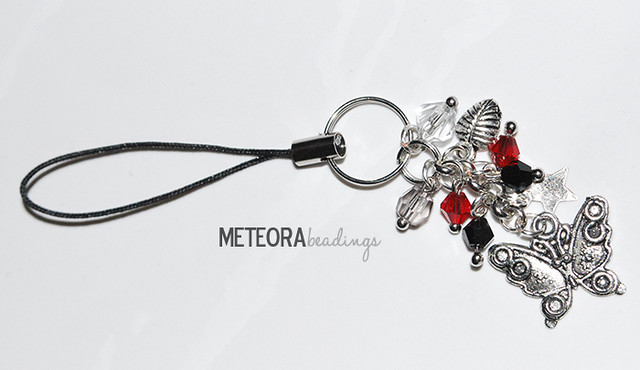 Phone chain - reb, black and clear beads, with silver leaf, star and butterfly charms