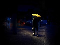 Another rainy morning II (Ren Mollet) Tags: street morning man rain night umbrella nightshot earlymorning streetphotography basel rainy 35 morgen regen raindown renmollet