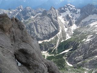 De Punta Roca (3265 m), massif de la Marmolada, Canazei, Val di Fassa, province de Trente, Trentin-Haut Adige, Italie.