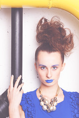 portrait #5 (meszarosgaborphoto) Tags: blue girl beauty face fashion canon hair outfit model eyes industrial dress garage tube tubes makeup jewelry lips nails eyebrow lookatme lipstick brunette brownhair 500d bluedress outfitoftheday canon500d bluelips silvernails blueeyebrow