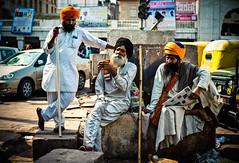 Gurudwara Guys - Chandi Chowk - Old Delhi - Leica M9-P (Sparks_157) Tags: life leica city travel people urban india colour men temple asia delhi streetphotography streetlife rangefinder streetscene busy sikhs turban sikh gurudwara amit hangingout oldmen safron olddelhi chandichowk leicam9 50mmf14summilux sisganjgurudwara m9p amitkar