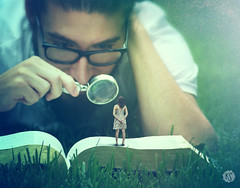 """To Find Magic In The Smallest Of Things"" ( 2016 by Keren Stanley) (keren_stanley) Tags: plants nature outdoors book surreal books magnifyingglass knowledge expressive conceptual smallworld minature bookworm portraitphotography surrealsm fashionactions"