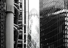 Lime Street, City of London (shadow_in_the_water) Tags: reflection london architecture blackwhite normanfoster 30stmaryaxe limestreet thegherkin cityoflondon lloydsbuilding richardrogers willisbuilding fosterpartners ec3