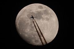 La Lune et l'avion - 19 avril 2016  21h17 (Didier Auberget) Tags: moon lune plane telescope astrophotography transit astronomy avion astronomie astrophotographie tlescope canoneos500d