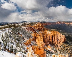 Bryce Canyon 16 (MarcCooper_1950) Tags: trees red sky orange snow colors clouds landscape utah nikon scenery rocks vivid canyon cliffs hills southern boulders hoodoo bryce rainfall hdr formations lightroom mounatins brycecanyonnationalpark geologic d810 marccooper