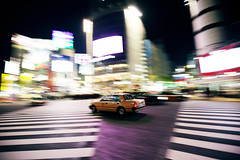 Fast and Furious ([~Bryan~]) Tags: street japan night speed tokyo crossing taxi shibuya vehicle cabs shibuyacrossing zebracross fastandfurious chasinggame