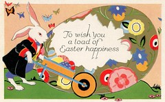 Get a Load of This Easter Happiness (Alan Mays) Tags: old flowers red green bunnies animals vintage paper easter cards typography gold holidays antique illustrations ephemera postcards type eggs greetings rabbits fonts printed wheelbarrows loads anthropomorphism typefaces anthropomorphic greetingcards eastercards