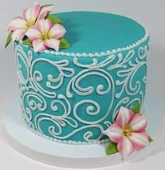 Petunia (Edible Delights) Tags: pink flowers cake teal scrollwork petunia scroll fondant gumpaste