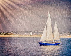 Rain or Shine (CapeCawder) Tags: lighthouse sailboat provincetown capecod americanflag photoart rainorshine longpointlighthouse digitalphotoart topazsoftware ononeperfecteffects capecawder topaztextureeffects
