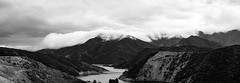 Panorama of Pyramid Lake (vaneebs) Tags: california trees wild panorama white mountain lake storm black mountains nature water monochrome clouds river landscape los pyramid angeles hills wilderness