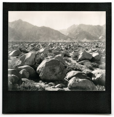 ansel's boulders. manzanar, ca. 2014. (eyetwist) Tags: california camp bw usa white black mountains film monochrome analog landscape polaroid mono blackwhite rocks image ishootfilm sierra boulders integral ww2 vista pro instant remote analogue spectra lonepine internment eastern anseladams manzanar owensvalley impossible 395 pz worldwartwo mtwilliamson japaneseamerican inyo blackframe polaroidweek eyetwist sooc polaroidspectrapro mountwilliamson eyetwistkevinballuff impossibleproject impossiblebwspectra