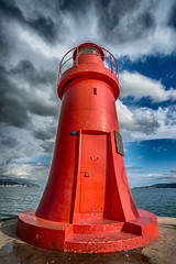 Red Lighthouse (SCAPP PHOTO) Tags: red sea sky italy lighthouse clouds bottom wide laspezia