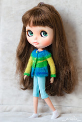 update on Etsy (_vasilka_) Tags: wool sweater knitting doll dress handmade knit clothes blythe pocket cardigan multicolor poc