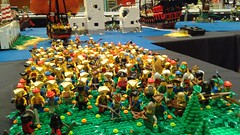 The pirates and brigands are finished! (Auz The Wizard) Tags: horse tree brick castle water field bush war king lego display good pirates helmet attack evil battle can pirate sword assemble axe knight plain spear 2016 barding brickcan