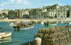 St Mawes , Cornwall . Through the ages ( 3 ) . (AndrewHA's) Tags: boats fishing cornwall harbour postcard crab pots lobster stmawes