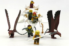 ESR F landing 3 (Jeddy and Daddy) Tags: lego eagle battle elf eagles ballista orcs greenskin armies legoideas highelf fantasyera castletheme skychariot castleera skyreamer