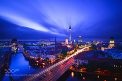 Berlin Skyline (Justin S Reid) Tags: city blue light sunset sky building berlin skyline architecture night clouds germany lights long exposure cityscape trails fernsehturm 500px ifttt dierjscreensaver