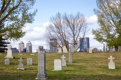 views (John Andersen (JPAndersen images)) Tags: trees calgary cemetery river bench spring path graves 2016