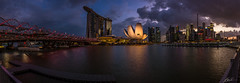Singapore Pano Shot on Sony RX10II (KarnThmarshal - [KarnjiTang]) Tags: life camera city travel light panorama beautiful night marina wonderful idea bride bay nice twilight singapore asia cityscape image good district sony wide picture style helix build tone aec awasome marinabaysand rx10ii