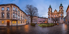 Panorama of Domplatz Square and Saint Jacob Cathedral in the Morning, Innsbruck, Tirol, Austria (ansharphoto) Tags: old city morning travel blue sky urban panorama house alps building history tourism church saint st electric stone skyline architecture night dawn lights austria tirol town twilight europe cityscape cathedral bell jacob famous capital kirche landmark center medieval illuminated christian alpine dome osterreich jakob iconic tyrol innsbruck oesterreich domplatz tirolean