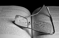 It's All Right There In Black & White (Light Collector) Tags: blackandwhite bw reading book text resting eyeglasses weeklytheme bifocals printedword theflickrlounge