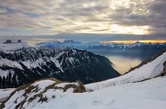 sunset (welenna) Tags: schnee sunset sky mist lake snow mountains fog landscape switzerland sonnenuntergang view himmel berge alpen lakegeneva genevelake laclman genfersee rochersdenaye vatland