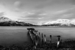 A Midwinter Day's Dream in monochrome (lunaryuna) Tags: longexposure winter light snow mountains norway season landscape coast availablelight decay jetty pebbles le fjord lunaryuna buoy northernnorway ullsfjorden arcticregion thecolourofcold seasonalwonders winterabovethearcticcircle arcticwinterday