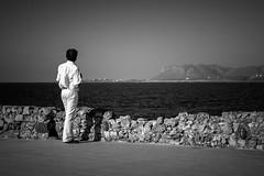 (aniretak) Tags: trip travel sea summer blackandwhite bw white man water port island europe south horizon greece crete oldcity chania