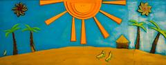 Banana Beach (flightlevel000) Tags: street sky cloud sun beach colors painting sand mural sandiego homeless banana sd boardwalk konica 40mm hexanon a7ii