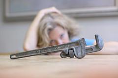 Me vs Diverter Valve (YetAnotherLisa) Tags: portrait self plumbing pipe wrench day10366 yetanotherlisa 52weeks2016 366the2016edition 3662016 yetanotherlisa2016 10jan16