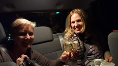 Toasting in the back seat