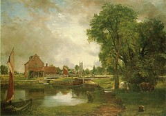 John Constable - Currier Museum of Art 1949.8. Dedham Lock and Mill (1820) (lack of imagination) Tags: trees houses people water animals landscape boat blog johnconstable curriermuseumofart 7001000