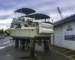 Precarious perch (Tony Tomlin) Tags: ocean sea canada marina boat bc britishcolumbia shore crescentbeach cruiser boatyard boatrepair
