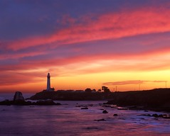 The Pigeon Point Color Affair (RZ68) Tags: california county light sunset sky lighthouse color reflection water clouds sunrise point dawn bay coast san francisco rocks no pigeon cliffs velvia pch area mateo provia rz67 e100