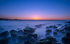 Keep Calm (Simon Huynh) Tags: california sunset rock highway1 pacificocean bluehour algae pacificcoastline watersapes