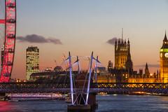 From the London Eye to Big Ben (biddlem741) Tags: uk sunset england london thames clouds londoneye bigben jubileebridge matthewbiddle