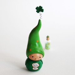 Wee Gnome and Lucky Clovers (humbleBea) Tags: sculpture holiday green art miniature gnome handmade oneofakind polymerclay heirloom figurine fourleafclover shamrock homedecor stpatricksday keepsake luckyme handsculpted beaswees