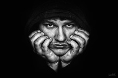 Me (Marek Lampart) Tags: portrait people blackandwhite bw man black monochrome blackwhite hands nikon czech background indoor mc cz ostrava nikond5100