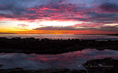 Sunset reflection (cbjphoto) Tags: ocean california sunset beach del clouds photography mar pacific little dusk scenic corona coronadelmar carljackson