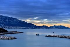 Blue Morning (Marie.L.Manzor) Tags: morning sea sky seascape mountains water backlight clouds sunrise landscape harbor boat nikon ship nikkor marielmanzor nikon610