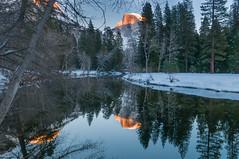 Reflective Moment - Yosemite National Park (CloudRipR) Tags: winter sunset mountains 500v20f ngc halfdome streams yosemitenationalpark d300 250v10f earthnaturelife