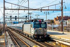Amtrak 927 on 186, BRANDY, 2016-02-202 (redheadedrobbie1) Tags: railroad electric toaster amtrak locomotive passenger railfan meatball nec northeastcorridor aem7 aem7ac