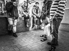 Hangin' Out (TMimages PDX) Tags: road street city people urban blackandwhite monochrome buildings portland geotagged photography photo image streetphotography streetscene sidewalk photograph pedestrians pacificnorthwest avenue vignette fineartphotography phoneography